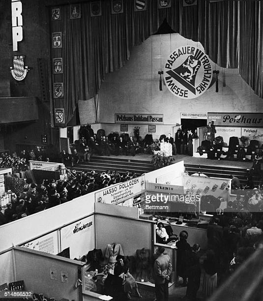 4/27/1950Passau Garmany US High Commissioner for Germany John J McCloy is pictured presiding over opening day ceremonies of the annual Spring Fair at...