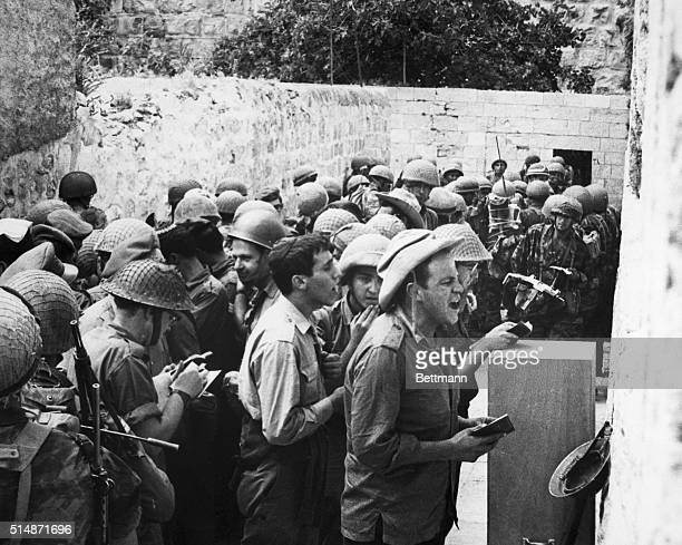 4/28/1968Jeruslem Israel Israeli soldiers pray at the Wailing Wall in Old Jerusalem at the end of the 6 Day War in June of 1967 The Old City of...