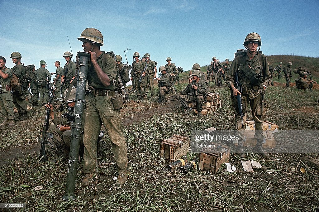 Hill 861, South Vietnam- Picture shows US Marines walking along Hill...  News Photo - Getty Images