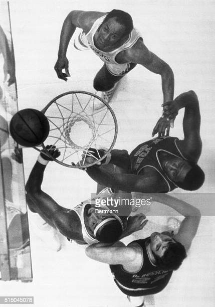 Inglewood, California: Elgin Baylor and Wilt Chamberlain of the Lakers and Willis Reed and Dave Debusschere of the Knicks all watch the ball bounce...