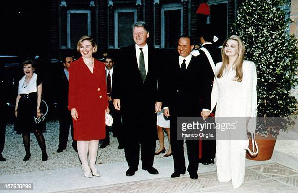 42nd President of the United States Bill Clinton and First Lady Hillary Clinton meet Italian Prime Minster Silvio Berlusconi and his second wife...