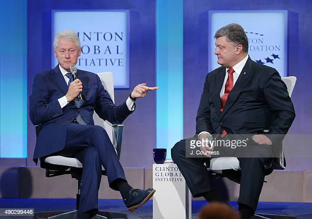 42nd President of the United States Bill Clinton and President of Ukraine Petro Poroshenko speak during a panal discussion on day 2 of the Clinton...