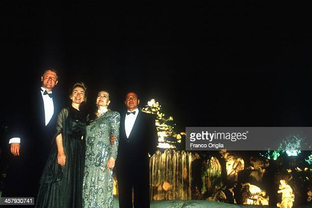 42nd President of the United States Bill Clinton first lady Hillary Clinton second wife of the Prime Minster Silvio Berlusconi Veronica Lario and...