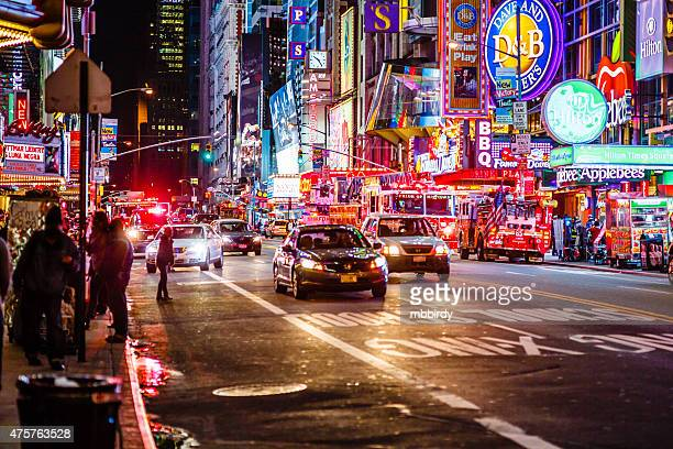 42nd street at night, New York City, USA