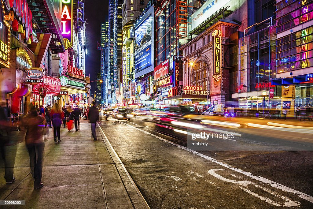 Broadway w 42nd St Times Square NYC street signs  a photo