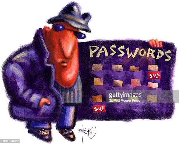 42p x 34p Kirk Lyttle color illustration of shady figure selling passwords from inside his coat jacket