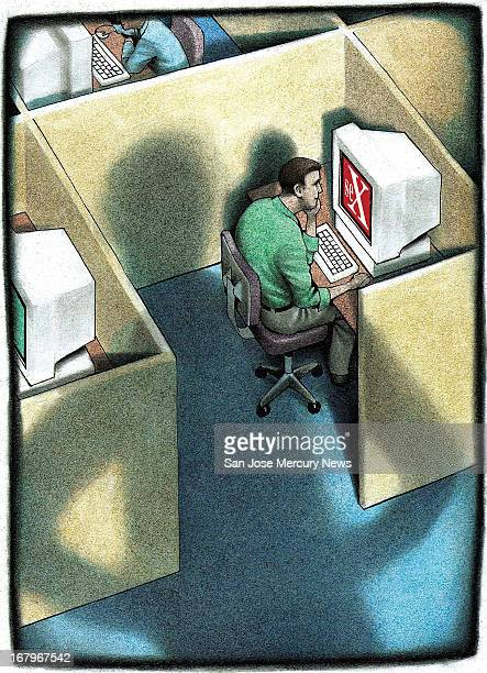 42p x 58p Doug Griswold color illustration of a cubicle worker looking at a computer screen marked with an X, symbolic of sexual content, as the...