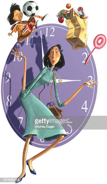 42p x 72p Tim Ludwig color illustration of working mother juggling child groceries and cleaning in front of a clock