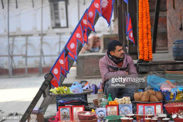 THAPA 42yrs old selling ritual offering infornt of Kaal Bhairab Basantapur Durbar Square Kathmandu Nepal on Wednesday February 01 2017 Thapa used to...