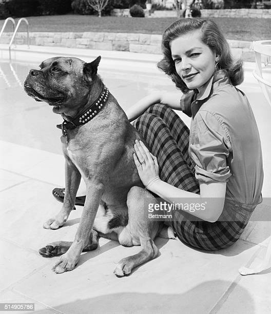 4/3/1955Hollywood CA Sitting in the warm California sunshine beside a pool with a beautiful film star patting him what more could a canine want The...