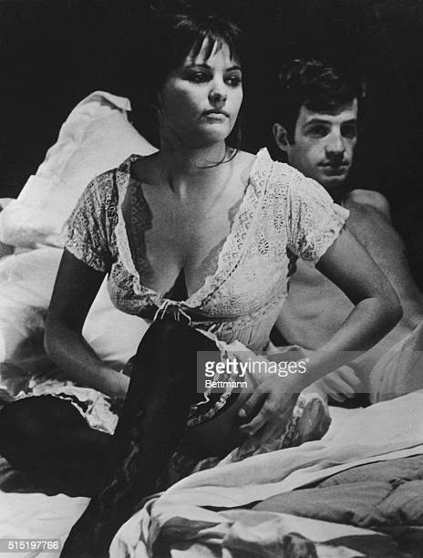 4/3/1961Paris France Playing an intimate scene buxom Tunisianborn Italian actress Claudia Cardinale and Italianborn French actor JeanPaul Belmondo...