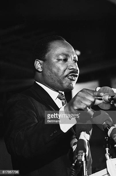 Dr Martin Luther King addresses some 2000 people on April 3rd the night before he was assassinated King said that he would not halt his plans for a...