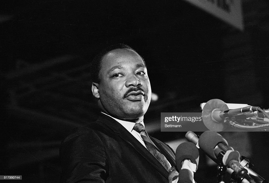 One of the last pictures to be taken of Dr. Martin Luther King, Jr. -- speaking to a mass rally April 3 in Memphis -- when he said he would not halt his plans for a massive demonstration scheduled for April 8 in spite of a federal injunction. The Nobel Peace Prize Winner was felled by a sniper's bullet, April 4.