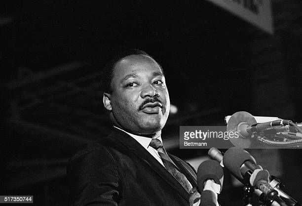 One of the last pictures to be taken of Dr Martin Luther King Jr speaking to a mass rally April 3 in Memphis when he said he would not halt his plans...