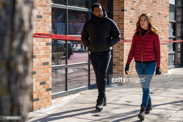 "43rd and Normal"" Episode 711 -- Pictured: LaRoyce Hawkins as Officer Kevin Atwater, Marina Squerciati as Officer Kim Burgess --"