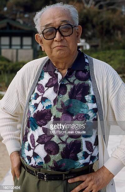 43rd Cannes Film Festival 1990 Rendezvous With Akira Kurosawa Le 43ème Festival de CANNES se déroule du 10 au 21 mai 1990 plan de face souriant...