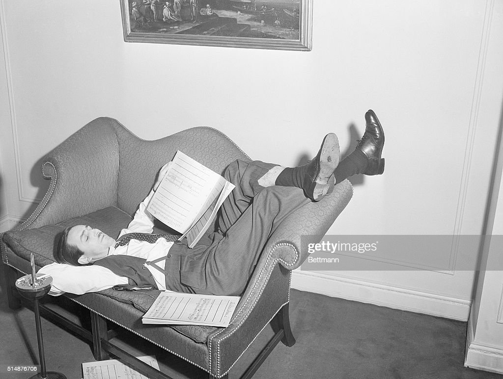 Walt Disney Reclined After Musical Session : News Photo
