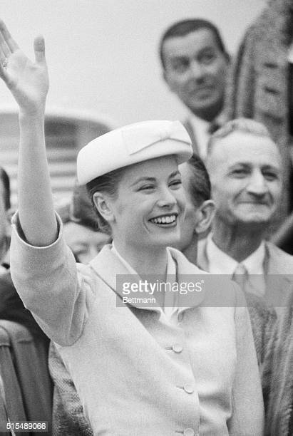 New York, New York- The animated face of actress Grace Kelly radiates happiness on board the liner, Constitution, as she prepares to leave for Monaco...