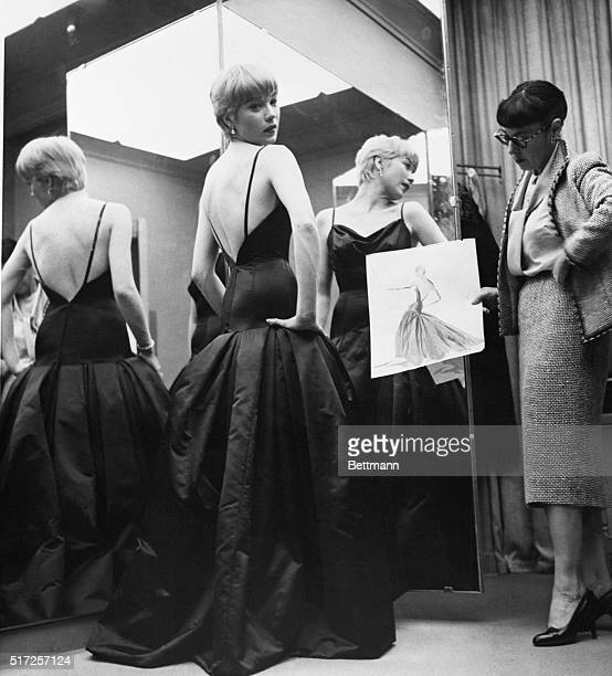 4/4/1959Hollywood CA Actress Shirley MacLaine Academy Award nominee for the Best Actress for her part in 'Some Came Running' models the gown here...