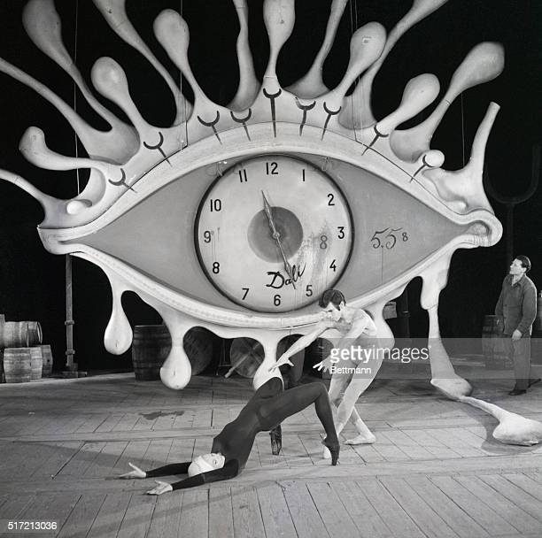 4/4/1962Brussels Belgium Some characteristic symbols of the unique art of Salvador Dali eye clock crutches dominate the stage of the Theatre Royale...
