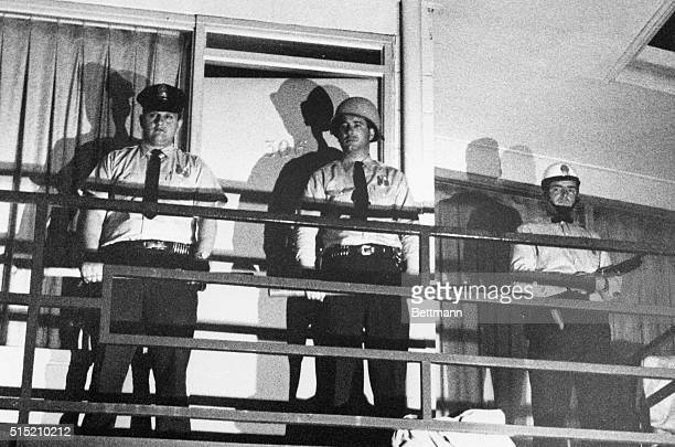 Police stand guard on balcony of motel in which Negro leader Dr Martin Luther King was shot 4/4 King was felled by a single shot as he stood on...