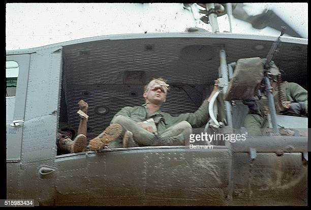 4/4/1968Near Khe Sanh South Vietnam A helicopter evacuates First Cavalry men from a hilltop along route during their advance toward Khe Sanh