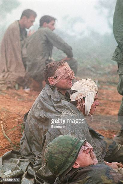 4/4/1968Near Khe Sanh South Vietnam First cavalry men many with head wounds wait to be evacuated from a hilltop along route during their advance...