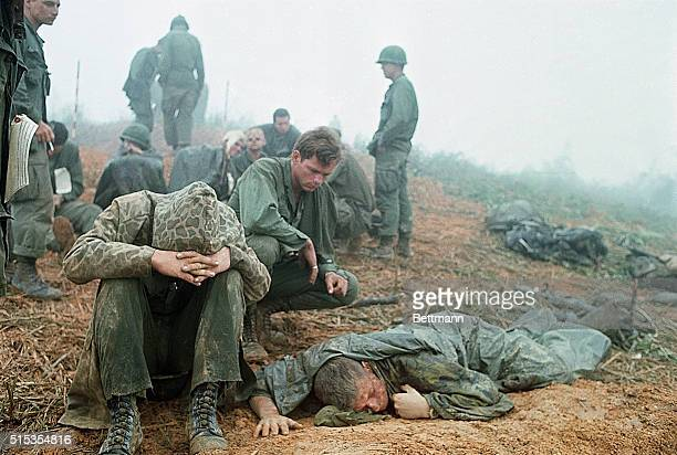 4/4/1968Near Khe Sanh South VietnamFirst Cavalry men many with head wounds wait to be evacuated from a hilltop along route during their advance...