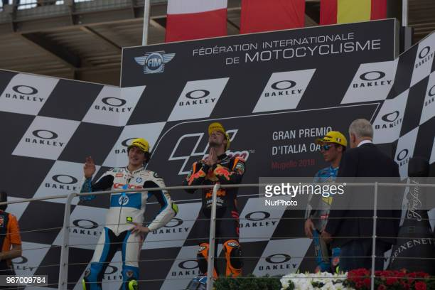 44Miguel OLIVEIRAPORRed Bull KTM AjoKTM 07Lorenzo BALDASSARRI Pons HP40Kalex 36Joan MIR EG 00 Marc VDSKalex podium Moto2 during Race MotoGP at the...