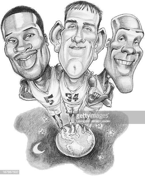 44p x 54p Chris Ware color illustration of University of Kentucky basketball seniors, Wayne Turner, Scott Padgett and Heshimu Evans.