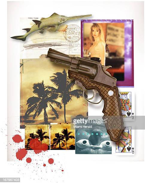 44p x 56p Philip Brooker color illustration of a collage of Miami images overlayed with a handgun and bloodstains