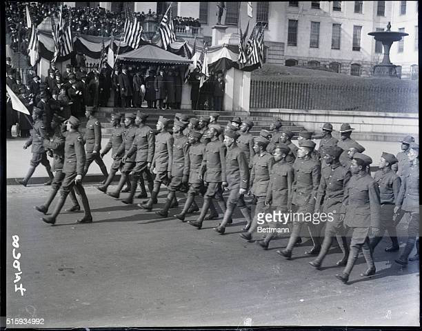 4/5/1919Boston MA The parade of the 372nd Colored Infantry of the Red Hand Division is shown coming up Tremont Street in Boston The parade is shown...