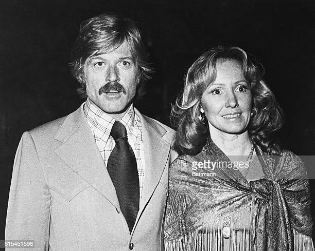 """New York, NY-: Robert Redford and his wife, Lola, arrive March 5 for the New York benefit premiere of """"All The President's Men,"""" in which he stars..."""