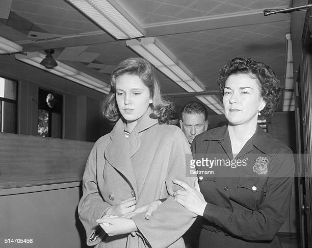 4/5/58Beverly Hills California Cheryl Crane daughter of Steve Crane and actress Lana Turner is escorted from the jail here to juvenile hall in Los...