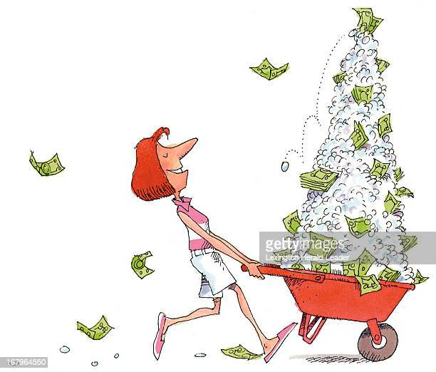 45p x38p Chris Ware color illustration of a woman pushing a wheelbarrow full of money