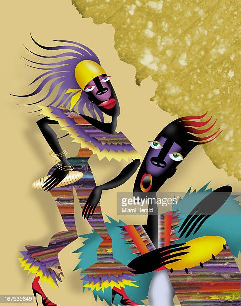 46p x 59p Ana Lense Larrauri color illustration of two colorfully dressed Caribbean musicians