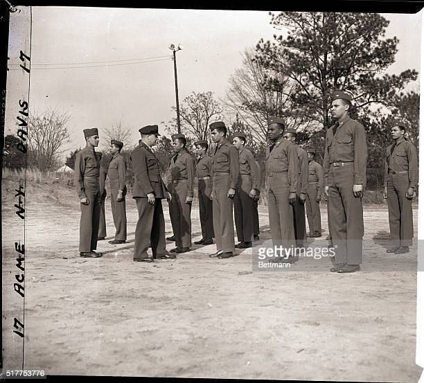 4/7/1943Tuskegee AL General of the Army Air Forces Southeast Training Center inspects negro aviation cadets at the Flying Training Detachment at...