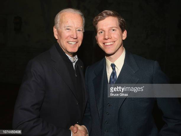 47th Vice President of the United States Joe Biden and Stark Sands pose backstage at the hit play based on the classic Harper Lee novel To Kill a...