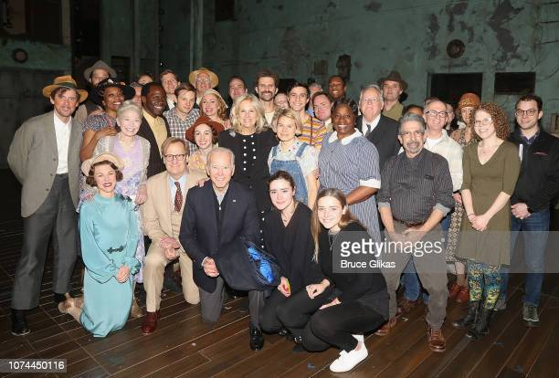 47th Vice President of the United States Joe Biden Dr Jill Biden and grandchildren pose with the cast backstage at the hit play based on the classic...
