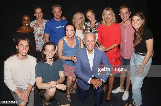47th Vice President of the United States Joseph Biden Jr wife Dr Jill Biden Amy Schumer Matt Bomer pose with Tony Winner Ben Platt and the cast...