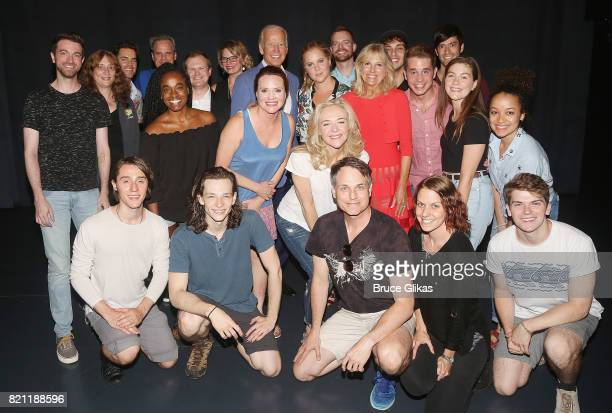 47th Vice President of the United States Joseph Biden Jr wife Dr Jill Biden Amy Schumer Matt Bomer pose with Tony Winner Ben Platt and the cast and...