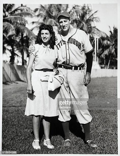 4/8/1947Miami FL Hank Greenberg 1946 home run king who will open the season at first base for the Pittsburgh Pirates is pictured with his wife the...