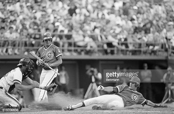 4/8/1984San Diego California Chicago Cubs second baseman Ryne Sandberg slides and steals home with his foot just touching the plate ahead of San...