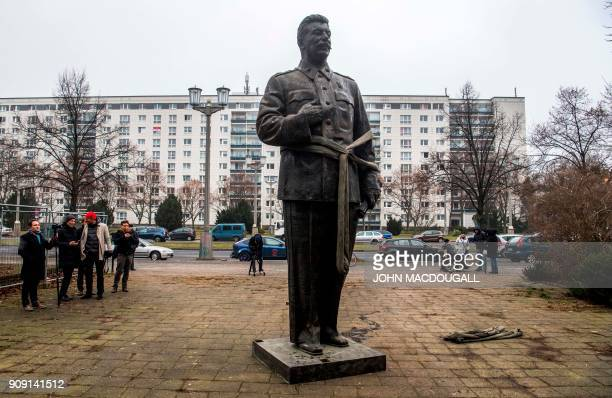 A 48metrehigh statue of former Soviet dictator Joseph Stalin stands on Berlin's KarlMarx Allee on January 23 2018 The statue stood for 15 minutes...