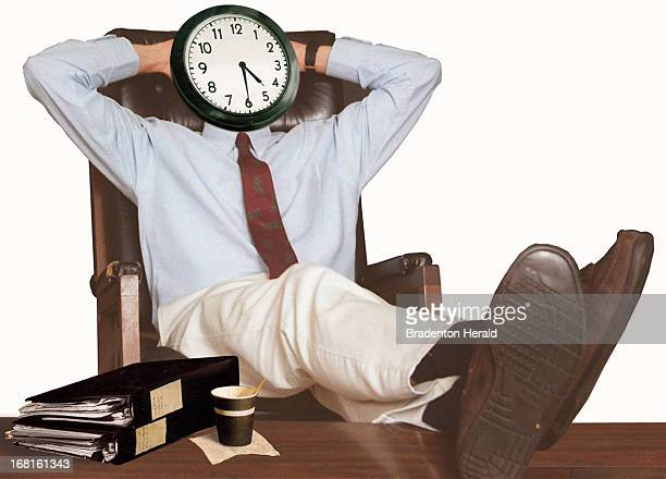 48p x 35p Carl Vaughan color photo illustration of man leaning back with feet up on desk clock on his face says '430'
