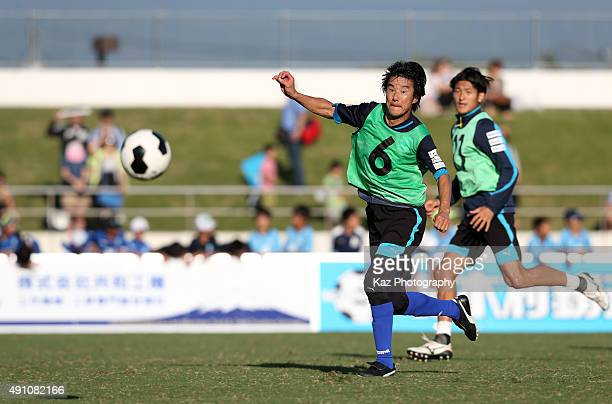 48yearold Masashi Nakayama of Azul Claro Numazu in action during a training session after the JFL match between Azul Claro Numazu and Sony Sendai at...