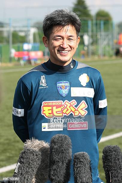48yearold professional football player Kazuyoshi Miura speaks to reporters as he extends his JLeague career after signing a new deal with Yokohama FC...
