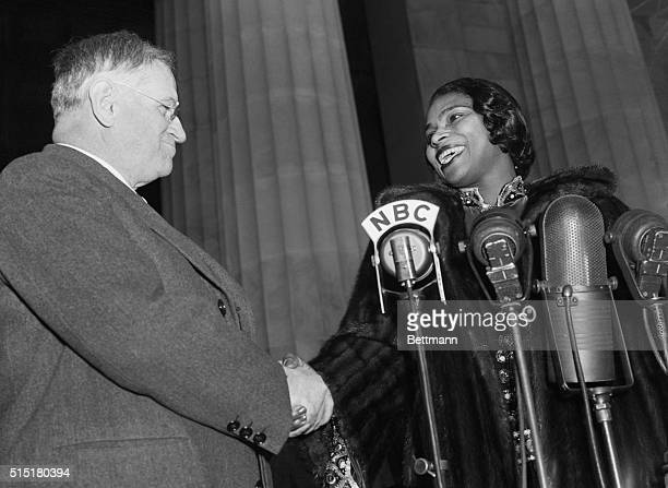 Washington, D.C.- Secretary of the Interior Harold Ickes, who made possible the concert of Miss Marian Anderson from the steps of the Lincoln...