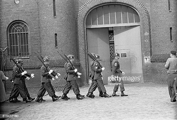 4/9/1962West Berlin Germany Entering the Spandau Prison where the remaining Nazi war prisoners are held forty riflemen of the US West Berlin...