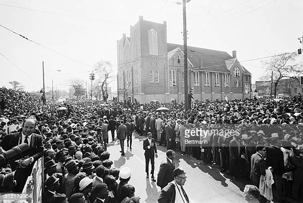 4/9/68Atlanta Georgia Huge crowd throngs the streets around Ebenezer Baptist Church in downtown Atlanta where the funeral services for the late Dr...